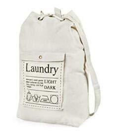 GORISEN Large Canvas Laundry Bag Backpack Spacious Drawstring Cotton Canvas with Strong Adjustable Shoulder Straps Washing Storage Organizer Travel Bag Beige