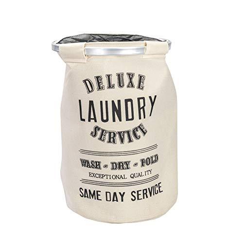 Harbour Housewares Laundry Clothes Basket Large Round Printed Canvas Washing Storage Bag - Metal Hoop - Cream Hamper