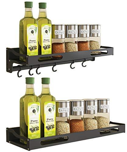 COVAODQ Wall Mount Spice Rack Organizer Kitchen Spice Storage Shelf Perfect Seasoning Organizer For Your Kitchen Door Mount - 2 Piece(6 Hooks  No Hook
