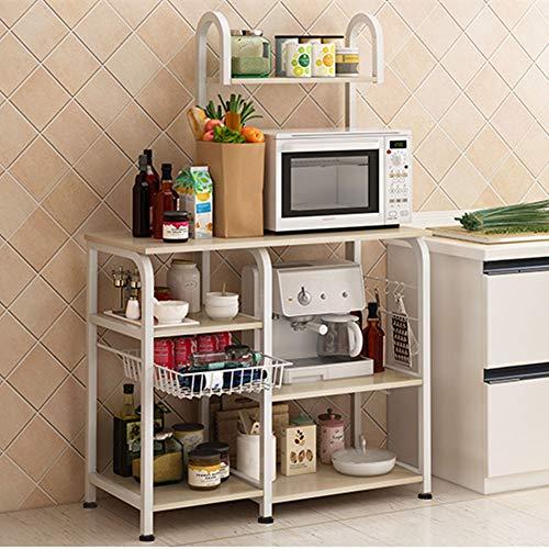 Mr IRONSTONE Kitchen Bakers Rack Utility Storage Shelf 355 Microwave Stand 4-Tier3-Tier Shelf for Spice Rack Organizer Workstation Light Beige