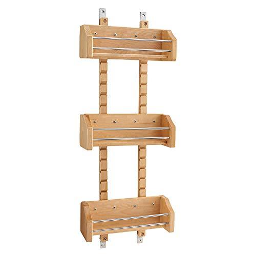 Rev-A-Shelf 4ASR-15 Heavy Duty Small Kitchen Cabinet Door Mount Wood Adjustable 3-Shelf Spice Rack Maple