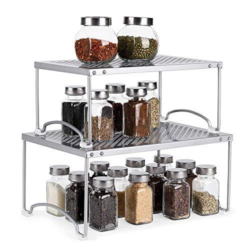 Kitchen Cabinet and Counter Shelf Organizer Storage Rack Spice Rack Silver