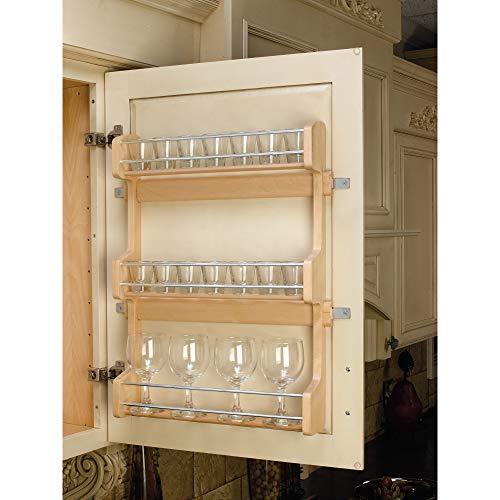 Rev-A-Shelf 21 Inch Cabinet Door Mount Wooden 3 Fixed Shelf Spice Rack with Hardware