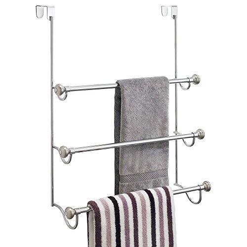 InterDesign York - Over-The-Shower-Door 3-Bar Towel Rack - Split Finish Stainless Steel - 725 x 225 x 1775 inches