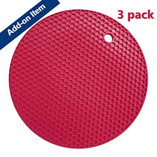 Miji Silicone Pot Holder Heat Resistant Kitchen Potholder Pan Holder 3pack Red