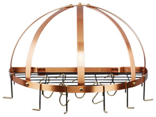 Old Dutch Half-Round Pot Rack with Grid 12 Hooks Copper 22 x 11 x 12