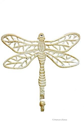 83 Antique-White Dragonfly Metal Cast Iron Wall Hook Kitchen Hanger Decor