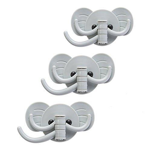 Home-organizer Tech 3M Self-adhesive Elephant Shaped Hooks Swivel Hooks Towel Keys Hats Hangers Bathroom Kitchen Hanger Wall Mount Hooks3 - Pieces Blue