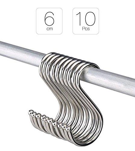 La Tartelette S Shaped Kitchen Hangers for Spoon Pan Pot Hanging Hooks Metal - 10 Pcs 6 cm
