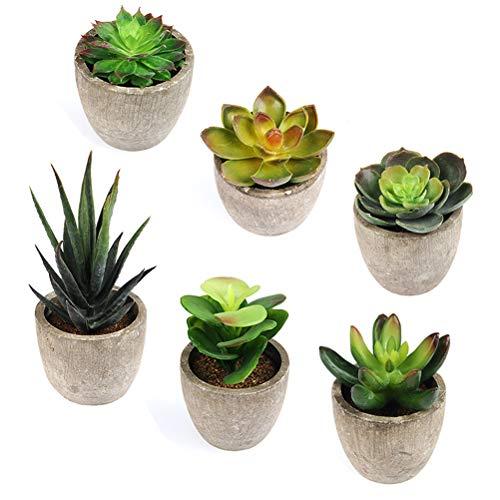 ATPWONZ 6 Pots Small Artificial Succulent Plants Mini Fake Faux Suculentas Pot For Shelf Kitchen Counter Office Decor Tiny Miniature Desk Plant Succulents Decoration Accessories Potted Plastic Cactus