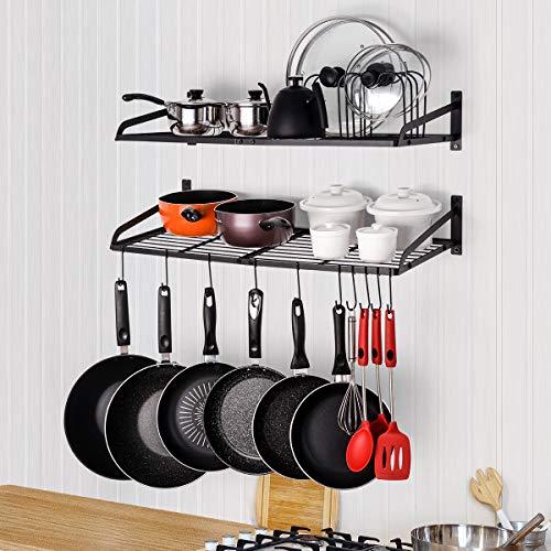 Sunix Pan Pot Rack Wall Mounted 2-Tier Pan Hanging Racks Pot Shelf Organizer with 10 Hooks and Pot Lids Holder