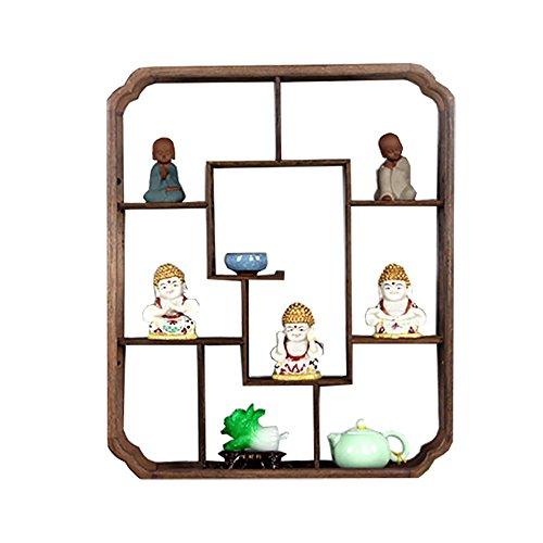 XXHDEE Solid Wood Chinese Ornament Frame Wall Hanging Wall Baogege Teapot Tea Shelf Rack Antique Frame Wall Shelf Size  S