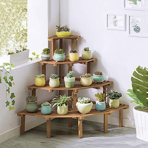 YMXLJJ Solid Wood Flower Stand Floor-Standing Balcony Wooden Flower Pot Shelf Multi-Layered Ladder Corner Plant Display Stand Bedroom Courtyard GardenCorner