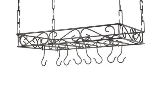 Concept Housewares PR-40515 Scrolled Iron Pot Rack Gray
