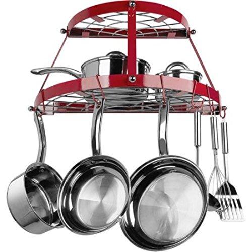 Double Shelf Red Wrought Iron Wall Kitchen Pot Rack
