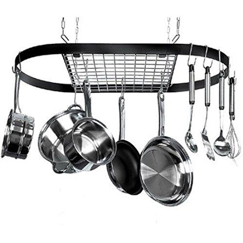 Durable Space Saving Design Wrought Iron Construction 12 Hook Kitchen Pot Rack