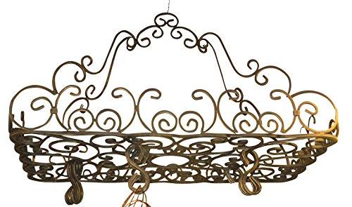 Posh Ornate French SCROLL Iron POT RACK Pan Hanging Ceiling Designer Metal