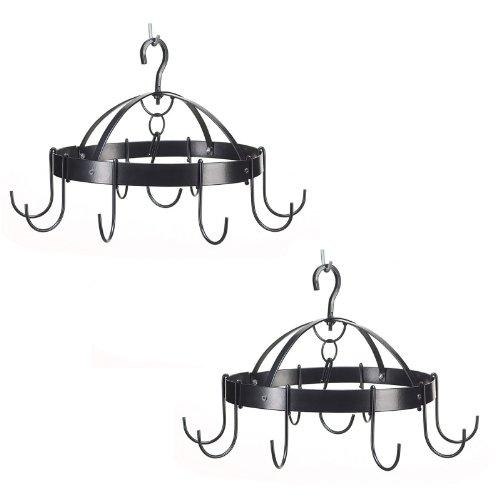 2 Black Round Hanging Mini Pot Pan Racks