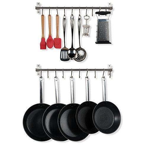 Wall Mount Stainless Steel Pot Pan Lid Utensil Organizer Rack 23 Inch Towel Bar Kitchen Rails Racks with 20 Hooks Set of 2 Silver