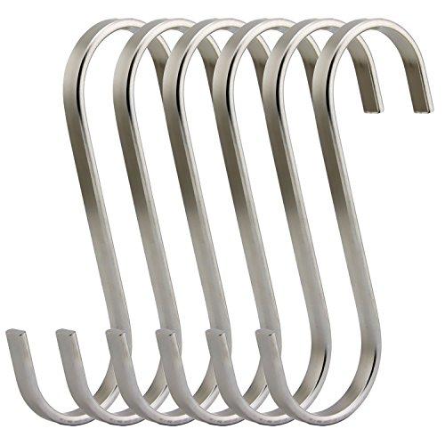 VNDEFUL 6 Pack Premium Stainless Steel Metal Kitchen Pot Pan Hangers Hanging Rack Hooks