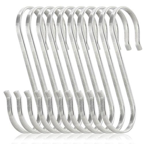 iKKEGOL 10 Pack of Premium Flat S Shaped Hooks Kitchen Pot Pan Hanger Clothes Holder Brushed Stainless Steel Metal 2 X-Large