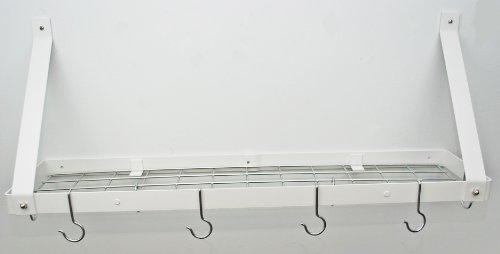 Rogar Gourmet Wall Mount Bookshelf Pot Rack with Grid White Chrome