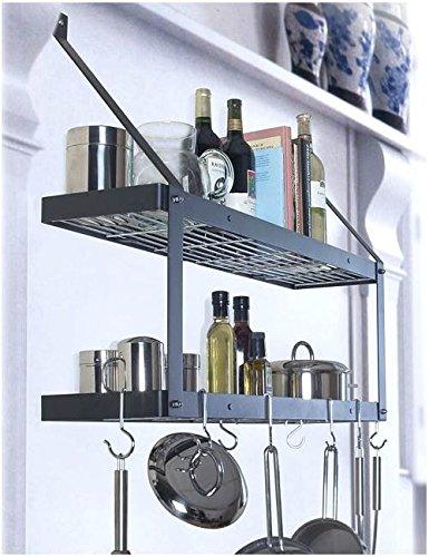 Rogar International Wall Mounted Pot Rack model 8546 Rust with black accessories