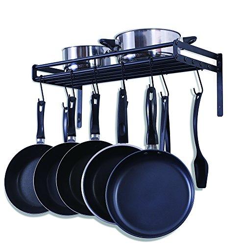 UNENCK Black Kitchen Wall Pan Pot Rack Iron Pan Hanger 10 Hooks Available