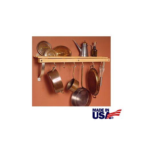 JK Adams 36-Inch-by-11-Inch Wall Mounted Pot Rack 6 Hooks Included