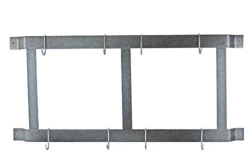 Rogar Ultimate Wall Mounted Pot Rack VerticalHorizontal in Hammered Steel