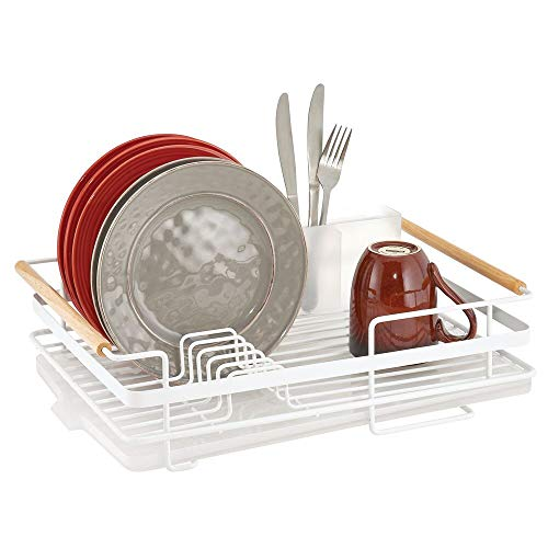 mDesign Metal Kitchen Dish Drainer Drying Rack with Plastic Cutlery and Wood Handles - Caddy and Drainboard for Sink or Countertop with Rubber Tray - Matte WhiteNatural