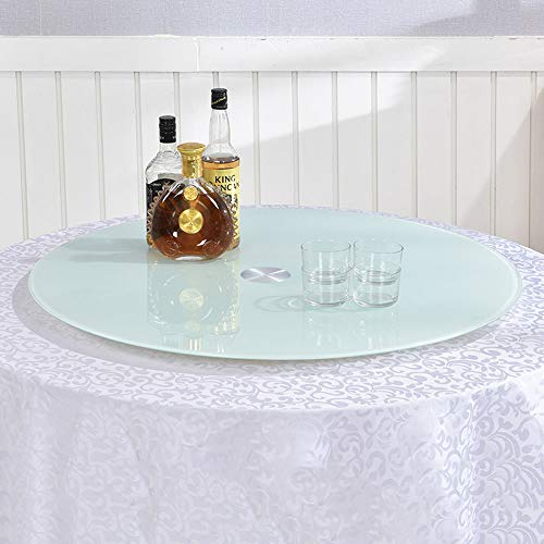 Glass Rotating Turntable Round Lazy Susan Rotating Kitchen Dining Table Tray White Painted Tempered Glass Rotating Board