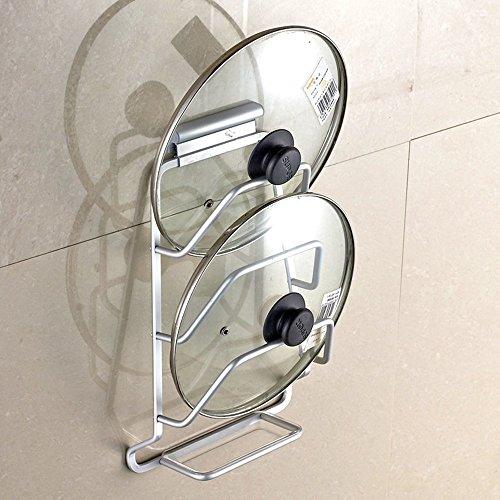 MyLifeUNIT Wall Mount Pot Lid Organizer Rack 3-Tier Aluminum Pot Lid Holder with Acrylic Drain Pan