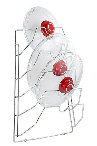 Saganizer pot lid organizer wall or Cabinet Door mounted Lid holder Chrome finish