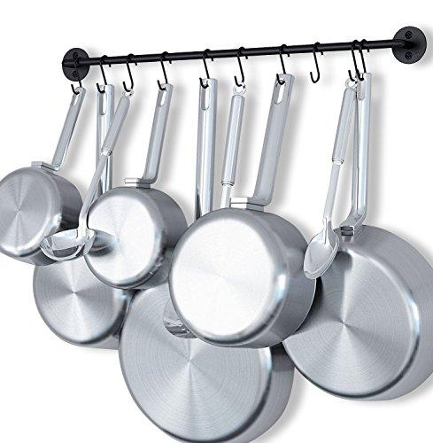 Fasthomegoods Steel Gourmet Kitchen 24 Inch Wall Rail and 10 S Hooks Utensil Pot Pan Lid Rack Storage Organizer Set Black