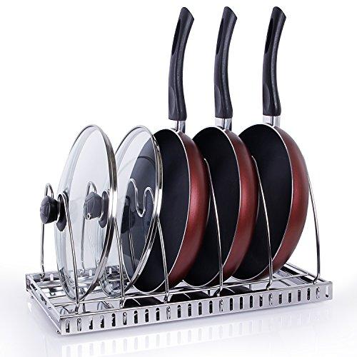 Lifewit Adjustable Pan Rack Pot Lid Holder Cookware Bakeware Organizer for Cabinet Worktop Storage 1810 Stainless Steel