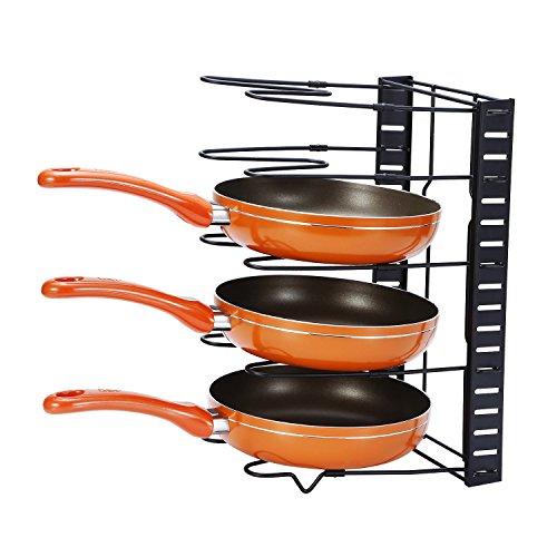 GEYUEYA Home Adjustable Cookware Holders Pan Organizer Rack Pot Lid Holders Pot Organizer Black
