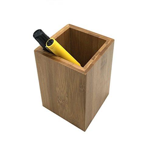 MAYMII Nature Premium Bamboo Wood Desk Pen Pencil Holder Pot Organizer Stand Multi Purpose Use