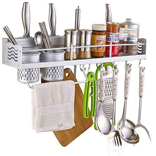 QinSheng Multifunctional Aluminum Wall Hanging Kitchen Rack with ShelvesBottle RacksToolholderVarious Hanger Hooks Pot Organizers for Kitchen Organization&Silver