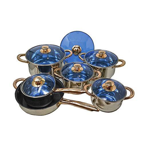 12 Piece Gourmet Stainless Steel Copper Cookware Pots Pans Sauté Pan Blue Glass Lids Encapsulated Bottom with Liquid Measurement Marks