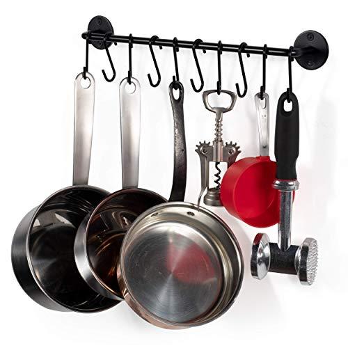 Wallniture Gourmet Kitchen Rail Pot Pan Lid Organizer Rack with 10 Hooks Black 16 Inch