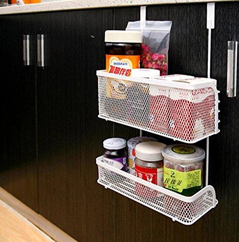 Home-organizer Tech Over The Cabinet Drawer Bathroom Door Grid Basket Cabinet Organizer Holder Bathroom Kitchen Storage Organizer Basket 2-Tier