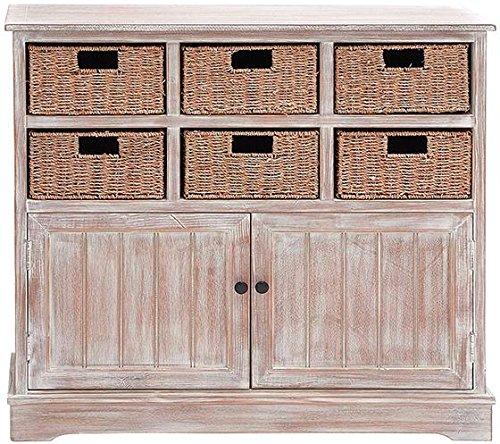 Jefferson 6 basket Cabinet 35Hx38Wx12D DISTRESSED CREAM
