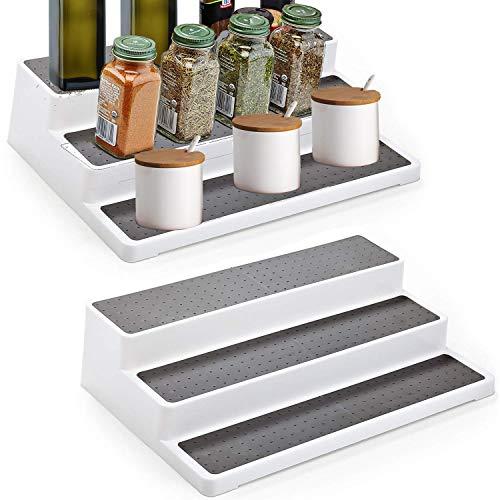 Alliebe Non-Skid 3-Tier Spice Rack Pantry Kitchen Cabinet Organizer 14-Inch Set of 2