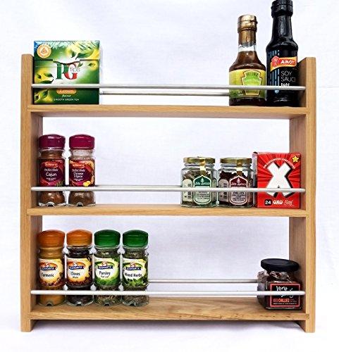 SilverAppleWood Wooden Spice Rack - 27 Jar Capacity Deep Shelves For Larger Jars And Bottles 3 Tier Solid Oak …