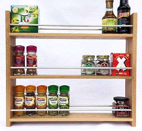 SilverAppleWood Wooden Spice Rack - 30 Jar Capacity Deep Shelves For Larger Jars And Bottles 3 Tier Solid Oak …