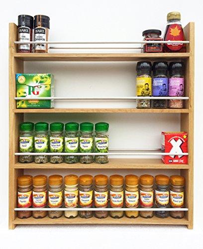 SilverAppleWood Wooden Spice Rack - 44 Jar Capacity Deep Shelves For Larger Jars And Bottles 4 Tier Solid Oak