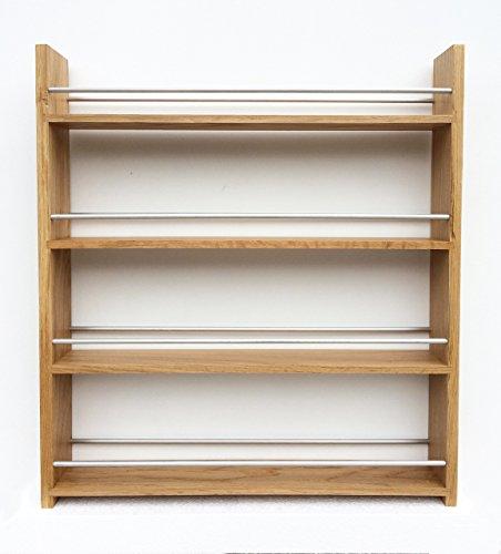 SilverAppleWood Wooden Spice Rack - 48 Jar Capacity Deep Shelves For Larger Jars And Bottles 4 Tier Solid Oak