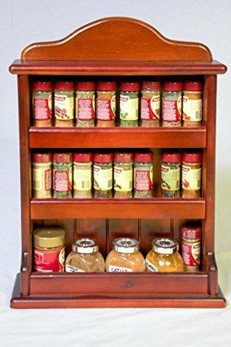 Wooden Spice Rack - Crown - 3 Tiers - Store 24 regular spice and herb jars - Dark Baltic