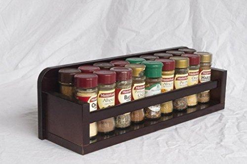 Wooden Spice Rack - Open Top - 1 Tier - Wooden Bar - 18 Herb and Spice Jars - Dark Baltic